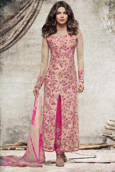 a61a5b13ba Priyanka Chopra Bollywood Cream Georgette Trouser Suit With Dupatta  http   www.andaazfashion