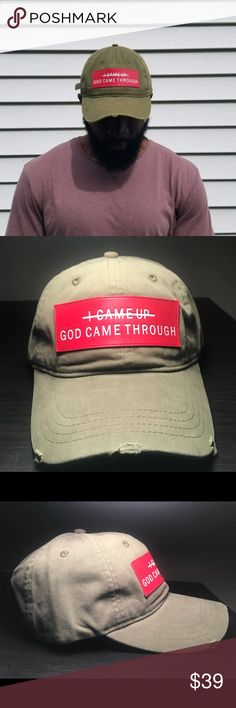 """""""GOD CAME THROUGH"""" CAP Dad Cap. 100% cotton. Red patch. Distressed olive green cap. Adjustable strap. One size fits most. The Lion's Pride Accessories Hats"""