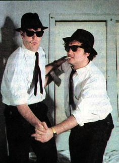 Behind the scenes photos with Joliet Jake, Elwood, Carrie Fisher & the cast of 'The Blues Brothers' Recital, Movie Stars, Movie Tv, Movie Gifs, The Blues Brothers, Blues Brothers Costume, Brothers Movie, John Landis, Cinema