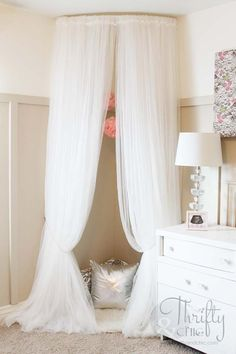 I love this all white decor ~ daughter's room. #bedroom #daughters