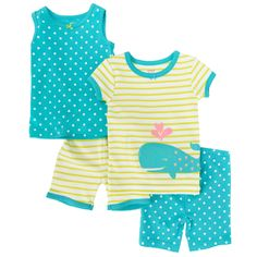 Carter's® Infant Girl Whale, Stripes, and Dots 4-Piece Pajama Set #VonMaur