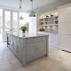 [ Kitchens Chunky Gray Kitchen Island White Kitchen Cabinets Granite Grey Kitchen Island ] - Best Free Home Design Idea & Inspiration Grey Kitchen Island, Gray And White Kitchen, Gray Island, Kitchen Islands, Big Island, Square Island Kitchen, Island Sinks, White Kitchen Floor, Cabinet Island