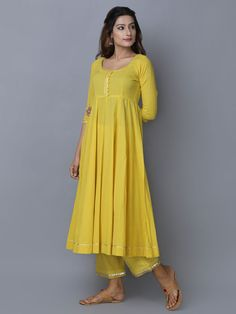 Indian designer outfits - Yellow Cotton Chanderi Anarkali Kurta with Pants Set of 2 Simple Kurti Designs, Kurti Neck Designs, Kurta Designs Women, Kurti Designs Party Wear, Casual Indian Fashion, Indian Fashion Dresses, Dress Indian Style, Indian Outfits, Indian Wear