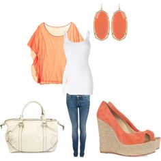 coral - i'd wear it! well except the skinny jeans my body looks better in boot flares