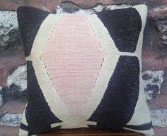 16' x 16' Handmade Kayseri Kilim Pillow Cover, 30 years old rug, dark brown white and pink geometric pattern pillow, natural, vintage 1970s.