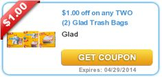 Store Coupons - save money for next vacation. $1.00 off on any TWO (2) Glad Trash Bags