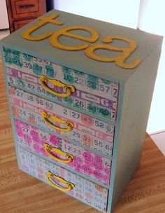 Made: Tea Box paint, lettering, bingo paper
