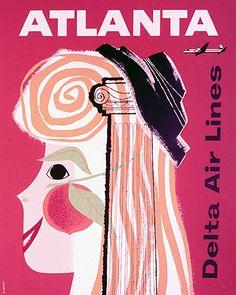 Atlanta In Vintage Airline Travel Posters - Sunshine Skies