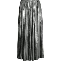Loewe Pleated lamé and silk-blend midi skirt (5.980 RON) ❤ liked on Polyvore featuring skirts, loewe, metallic, mid calf skirts, calf length skirts, knee length pleated skirt, lame skirt and pleated skirt