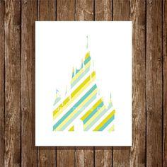 Disney Cinderella Castle Striped Silhouette, 8x10 Art Print, Digital Print, Home Decor, Wall Art, Instant Download, Printable Art