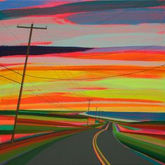 "Grant Haffner  ""Sunset over Old Montauk Highway""  Acrylic and graphite on wood panel, 2013  24 x 24 inches  Signed, titled and dated verso"