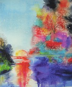 Watercolor Original Painting, Autumn Sunset, Art Watercolor Painting Print by Diana M Turner, 8 x 10, Blue, Purple, Orange, Red, and Green.
