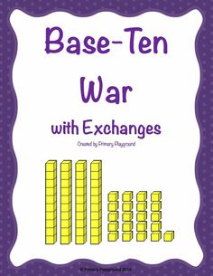 A twist on the classic War game, using place value (base-ten) blocks. This version includes more than ten cubes on one card, so students practice making exchanges. Also includes two student practice pages.