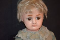 Antique Doll Wax Over Papier Mache Big Glass Eyes