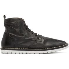 Mars�ll Gomma Black Leather Sancrispa Ankle Boots ($520) ❤ liked on Polyvore featuring shoes, boots, ankle booties, black bootie, lace up booties, black leather ankle booties, black lace up booties and black lace up ankle booties