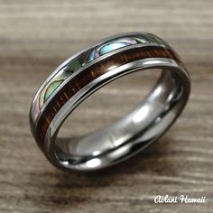 NEW Abalone and Koa Wood Inlay Tungsten Ring 6mm by AolaniHawaii