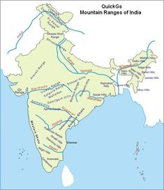 Highest peak among all Mountain ranges of India is Mount Highest peak in whole world is Mount Everest. Highest peak of western ghats is Anamudi. Geography Activities, Physical Geography, Geography Lessons, Indian River Map, General Knowledge Book, Gernal Knowledge, World Geography Map, Mountains In India, India World Map