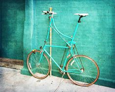 Tall Bike on Aqua Blue Green  Fine Art Photo  by BrookeRyanPhoto