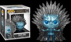 Game of Thrones POP! Deluxe Vinyl Figure - Night King Sitting on Iron Throne (Metallic) (Overseas Edition) King On Throne, Iron Throne, Night King, Rogues, Vinyl Figures, Funko Pop, Game Of Thrones, Lion Sculpture, Things To Come