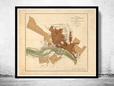 Old Map of Richmond Virginia 1853 by OldCityPrints on Etsy