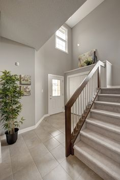 Front entry of home at front door. This foyer or entrance to the home is open to above with a stained maple railing that has round chrome spindles and carpet flooring. Main floor has stained maple hardwood that transitions into tile in mudroom. Wall are painted grey.
