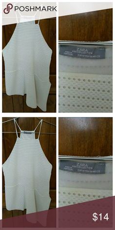 Zara white peplum summer blouse Zara white peplum summer blouse top size medium. Great condition. Zara Tops Tunics