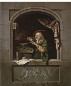 Een geleerde scherpt zijn pen in een venster. 1671. Particulier bezit. Naar Gerard Dou: Oude man die zijn pen snijdt, ook genoemd: de oude schoolmeester. 1671