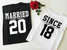 Anniversary gift - Married Since couples shirts - Anniversary gifts for men - Wedding gift ideas Wedding Reception Signs, Florida Wedding Venues, Wedding Ideas, Diy Wedding, Wedding Gifts For Friends, Wedding Gifts For Couples, Matching Couple Shirts, Matching Couples, Matching Outfits