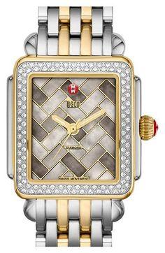 MICHELE 'Deco 16 Diamond' Two-Tone Watch Case, 29mm x 31mm | Nordstrom