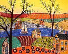 Early Evening 16x20 ORIGINAL CANVAS PAINTING LANDSCAPE FOLK ART Karla Gerard | eBay!