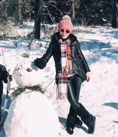 12.15 post card from lake tahoe (Alice & Olivia puffy coat + J Crew plaid scarf + Zara faux leather pants + Manitobah Mukluks boots)