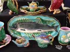 English Majolica Table Wares: Wedgwood, Brownfield, Minton and George Jones.  Majolica International Society image from Majolica Heaven, New Orleans, 2014
