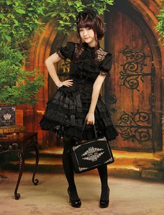 Gothic Layered Short Sleeves Black Lolita Outfits #gothic #lolita