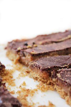{Refined sugar free, vegan, healthy} Twix Slice. A delicious slice full of sweet…
