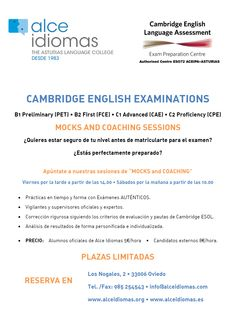 "Cambridge Examinations. Sesiones  ""Mocks and Coaching"""