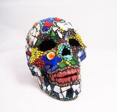 Sugar Skull Lamp, Mexican Day of the Dead Skull, Autism Awareness, Mosaic Sugar Skull, Home Decor, Puzzle Skull, Time Skull, Key Skull,