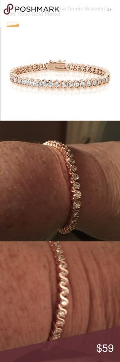 Beautiful rose plated CZ tennis bracelet Beautiful rose plated CZ tennis bracelet Jewelry Bracelets
