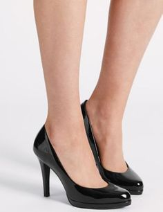 Buy the Patent Stiletto Heel Court Shoes from Marks and Spencer's range. Platform Stilettos, Stiletto Shoes, High Heels Stilettos, Pumps, Clogs Shoes, Shoe Boots, Shoes Heels, Black Dress Shoes, Colorful Shoes
