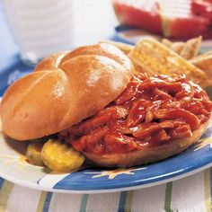 Saucy BBQ Chicken Sandwiches - The Pampered Chef® We love these!  Instead of the Blue Ribbon BBQ sauce, we use the sauce that I pinned earlier.  Yum!