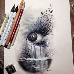Dark nature, eye #art #sketch #drawing colored pencils: