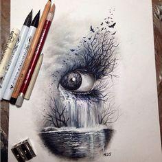 Dark nature, eye #art #sketch #drawing colored pencils: