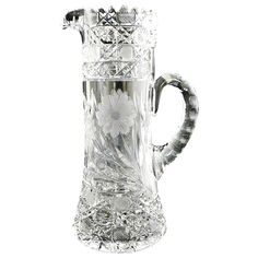 Antique cut glass tankard pitcher wine champagne harvard daisy c. 1900