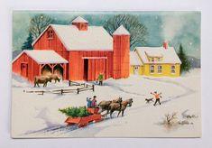 Unused Vintage Christmas Card People Boy Girl Farm Barn House Dog Snow Sleigh A+