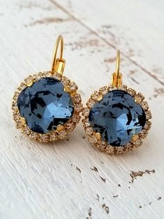Navy blue crystal earrings by EldorTinaJewelry on Etsy | http://etsy.me/1iXZ0cY