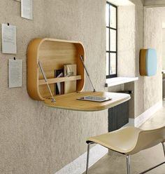A wall mounted desk is a great space-saving solution to your home office problem. Available in every size, shape and form they are stylish and functional. Folding Furniture, Space Saving Furniture, Office Furniture, Home Furniture, Office Decor, Home Office, Simple Furniture, Smart Furniture, Cheap Furniture