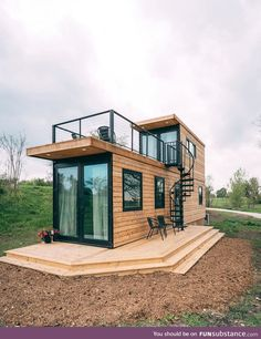 Tiny House Loft, Modern Tiny House, Tiny House Living, Small House Design, Tiny House Plans, Contener House, Living Room, Building A Container Home, Container Buildings