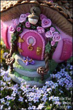 Pink Rose Fairy Cottage - OOAK