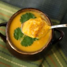 Thai Curry Butternut Squash Soup.   A delicious soup made in the crock pot.