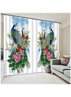 Oriental Traditional Peacock With Blossom Printing 3D Blackout Curtain  #home Decor #living Room #