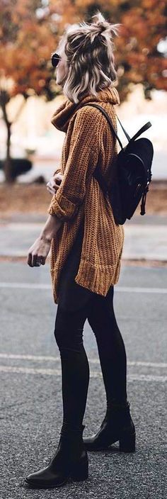 #winter #outfits brown knit sweater ; black backpack